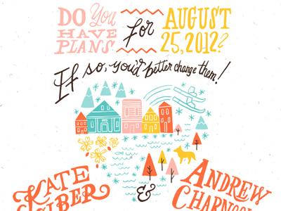 Colorado wedding invitation  heart illustration typography candy colored trees row houses wedding invitation