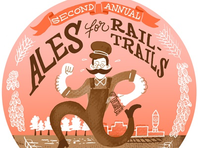 Ales for Rail-trails 5K typography illustration race running beer local nc hops wheat conductor durham banner pink brown red