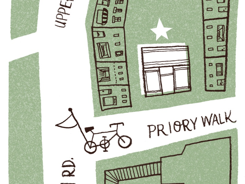 Folly Map map illustration typography green bicycle shop buildings streets
