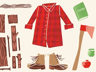 Into the Woods woodgrain plaid illustration axe man his walden woods logs rope boots apples