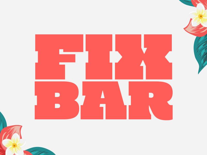 Fixin' for a Cocktail dharma-type mighty-slab logo tropical snowcone chunky slab cocktail bar tiki