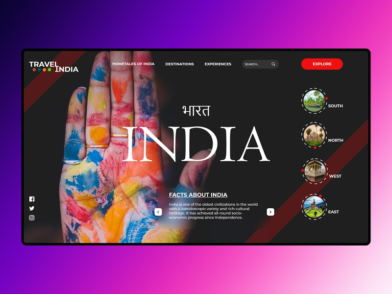Indian Tourism - Website Concept ux uidesign landingpage webdesign uxuidesign uxui adobe photoshop adobe xd