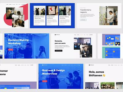 Shiftseven - Website web video typography blue landing website startup ux ui