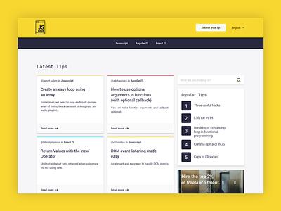 Introducing Js Tips yellow ux ui blog