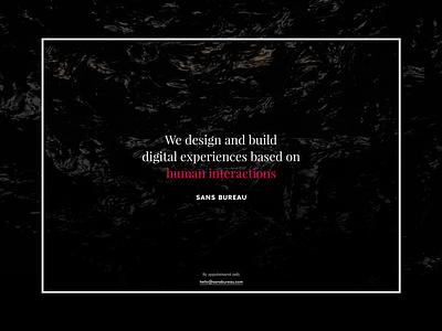 Sansbureau Coming Soon studio website red interaction ux ui communication brand dark landing