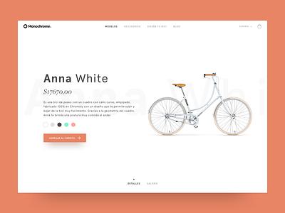 Monochrome - Product Details Concept ecommerce ux ui vintage bikes concept