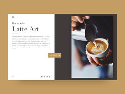 Latte Art landing editorial typography ux ui coffee