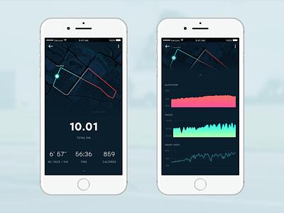 Garmin Connect app concept iphone tracking analytics sports dark app running
