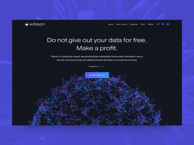 Wibson Commercial Page marketplace blue violet startup landing