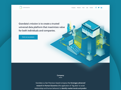 Grandata Website illustration web design startup company big data landing green website