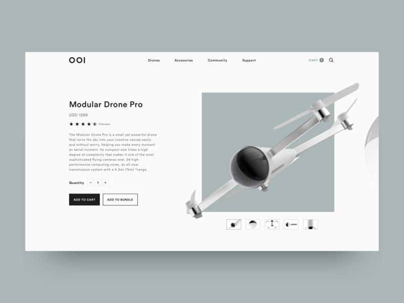 001 Drone Concept hero landing drone online store concept e-commerce website ux ui