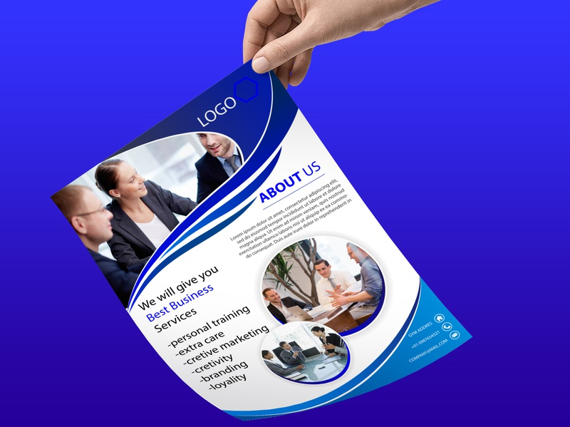 amazing blue corporate business flyer business typography concept brand branding special illustration beuty stylish design
