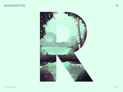 36 Days of Type: R rain nature lake landscape typography 36daysoftype graphic design vector illustration illustration design