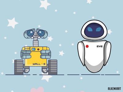 WALL-E and EVE art character design photoshop quarantine digitalart design artwork illustrator illustration