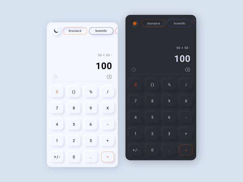 Calculator User Interface mobile app design uxui app dark mode dark mobile ui designs appdesign calculator app uidesign uxdesign uiux ux ui userinterface dail ui dailyui
