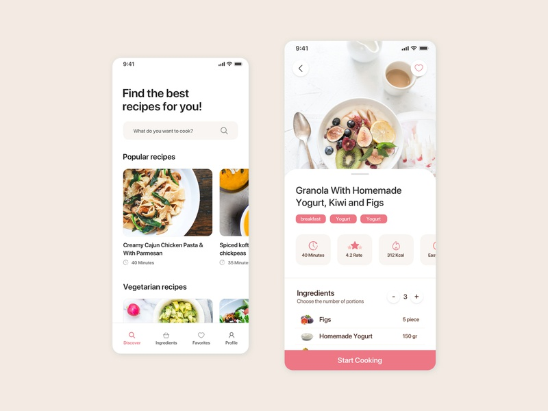 Recipes App Design kerem birgün userexperience userinterface ux ui application app food recipes