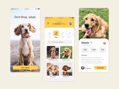 Pets Adoption App 🐶🐈 petshop pets app design kerem birgün uiux adoption dogs cats animals pet adoption concept