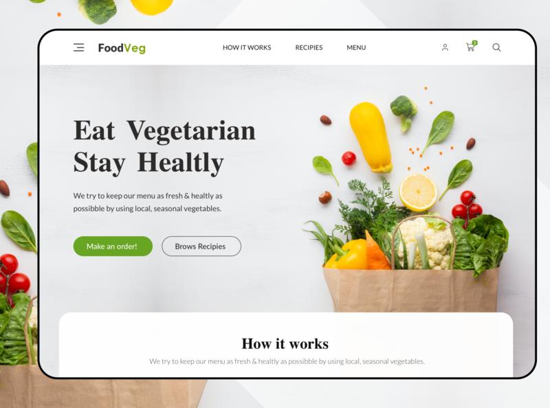 FoodVeg |  Vegetarian Online Store website landing page online store vegan uxdesign uidesign web design kerem birgün recipies shop food vegetarian