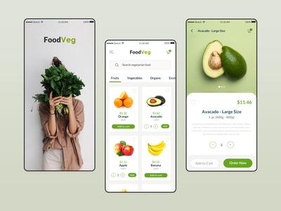 FoodVeg | Vegetarian Online Store App Design mobile app design ui design kerem birgün uiux app design vegetables vegan food app design vegetarian food