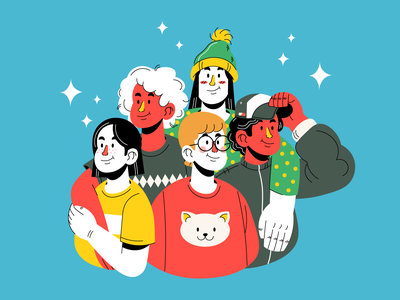 Friends vector illustrators flat design flat