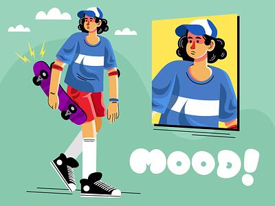 Skate mood! ux ui flat art flat design flat character illustration illustrator vector