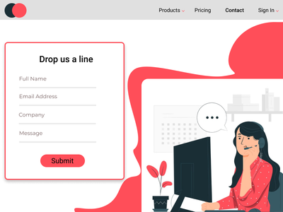 Contact us Page Design illustration designer uidesign uxdesign uxui website contact form dailyui028 dailyuichallenge dailyui