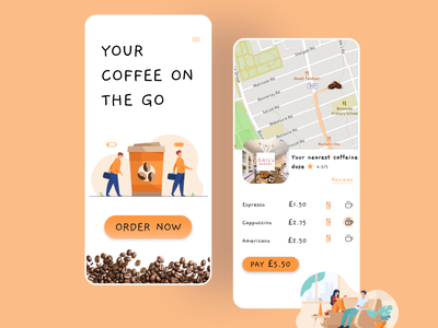 Coffee OnTheGo App uiinspiration takeaway uidesigner uxdesigner app designer design userinterface uxui uidesign uxdesign mobile mobileapp coffee