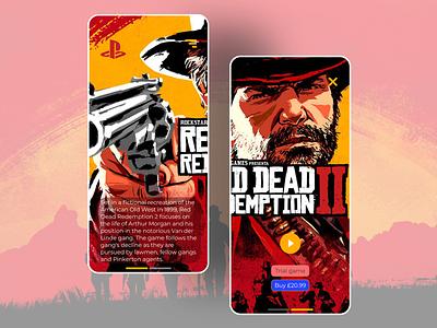 Red Dead Dribbble app userinterface design playstation rockstar gamedesign videogames freelancer dailyui designer uxui uxdesign uidesign
