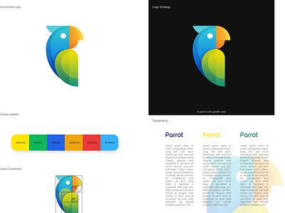 Parrot logo design goldenratio designer flat minimal logo design logodesign logotype logos logo illustrator vector design brand design branding design brand identity brand branding