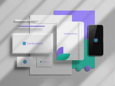 Verdureforte logo design abstract logotype logo mark logos logo designer minimalism minimalist modern paper symbol vector illustration vector art graphic design graphics geometric flat design elegant 2021 trend 2021 logo flower
