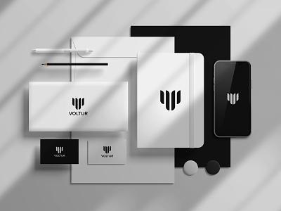 Voltur logo design branding abstract logotype logo mark logos logo designer minimalist minimalism modern paper symbol vector illustration vector art graphicdesign logo geometric elegant 2021 logo 2021 trend monogram