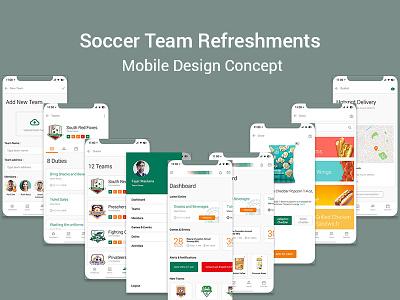 Soccer Team Refreshments  Mobile Design Concept app photoshop design ux ui design concept mobile app mobile refreshment team soccer app soccer