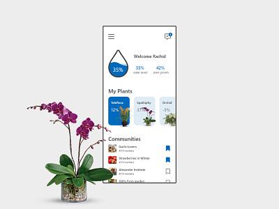 Water Sensor Mobile App green plant mobile app ui ux