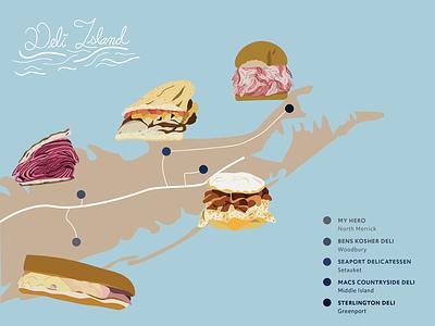 Deli Island island food sandwiches illustration illustrator