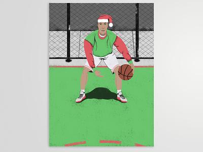 Holiday Hooper hoops basketball christmas drawing illustration illustrator