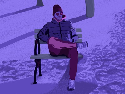 The Winter One Seater digital illustration photoshop cold relaxing introvert bench winter purples blues drawing design illustration illustrator