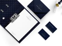 infinity-Branding behance blue card a4 paper envelope gold fashion clothing tailor dark luxury folder logodesign art design branding business card branding design brand identity brand design