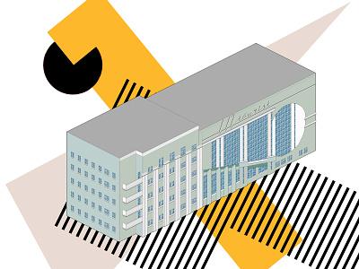 Intourist garage communication design illustrations architecture russian avantgarde constructivism pixel art illustration
