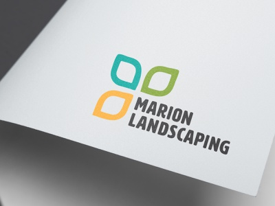 Marion Landscaping Logo typography paper design branding logo design leaf landscaping logo