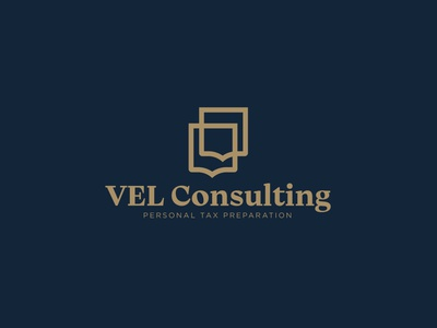 VEL Consulting Logo tax gold crest shield typography vector blue icon logo branding design