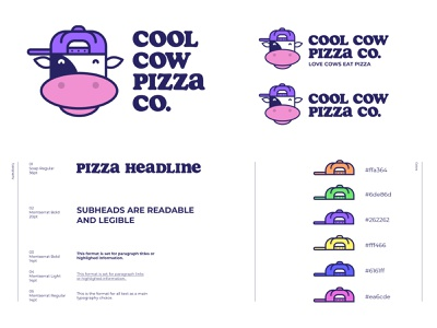 Cool Cow Pizza Co. Logo Sheet pizza logo hat guide color vegan illustration cow vector icon typography design branding logo design brand pizza logo