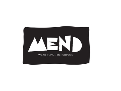 Mend | First Concept | Clothing Repair Logo upcycle patch sewing clothing repair vector logo design icon typography branding logo design