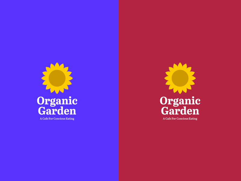 Organic Garden Logo Concept plants vegan food garden organic cafe sunflower color vector logo design icon typography branding logo design