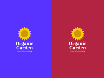 Organic Garden Logo Concept plants vegan food garden organic cafe sunflower color vector logo design icon typography branding logo design