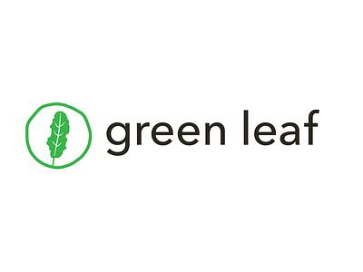 Green Leaf Logo branding green vegan kale vector logo design icon typography designer logo