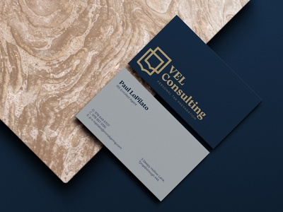 VEL Consulting Business Cards blue logo design typography icon stationery business card design branding logo design