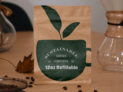 Refillable Coffee Bag packaging coffee illustration vector logo design icon typography branding logo design