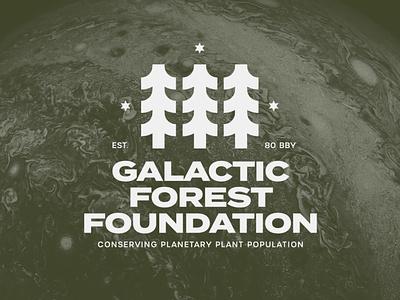 Galactic Forest Foundation Logo plants illustration design badge forest trees icon identity branding concept logo starwars