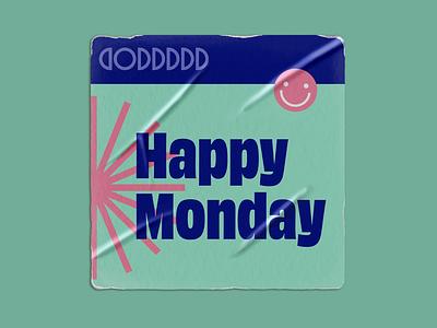 Happy Monday Sticker monday smile sticker illustration vector logo design icon typography design branding logo