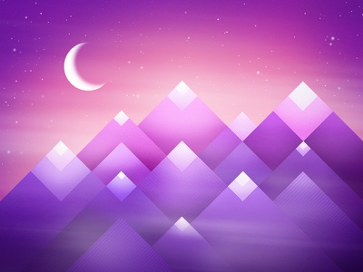 Foggy Mountains mist ethereal dream geometric illustration stars night moon landscape mountains fog